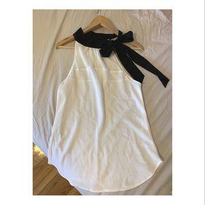 Dressy white black bow accent halter blouse